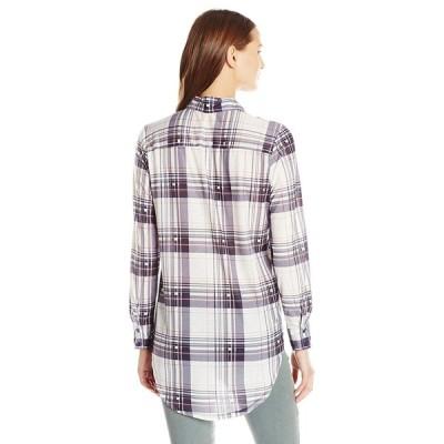 Paper Tee Women's Collared Plaid Tunic Top, White/Navy Medium