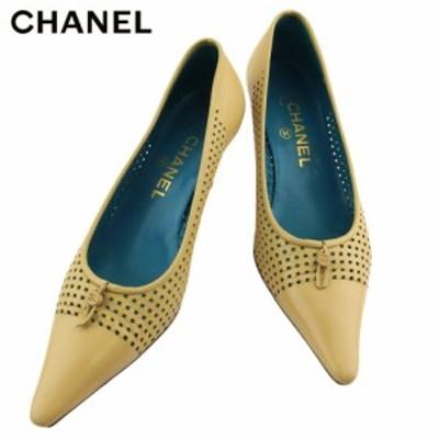 【ラスト1点】 シャネル パンプス シューズ 靴 レディース ♯35ハーフC ココマーク パンチング ベージュ レザー CHANEL T18713 中古