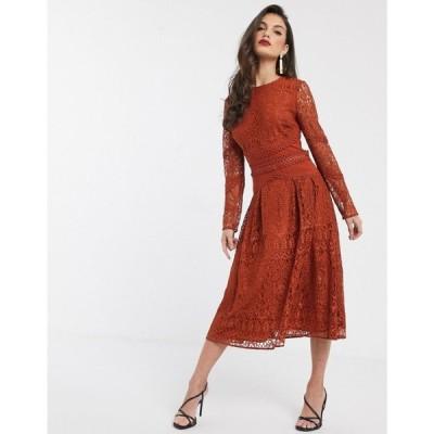 エイソス ASOS DESIGN レディース パーティードレス ワンピース・ドレス long sleeve prom dress in lace with circle trim details ラスティック