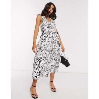エイソス レディース ワンピース トップス ASOS DESIGN cotton poplin wrap smock midi dress with drawstring waist in mono splodge print