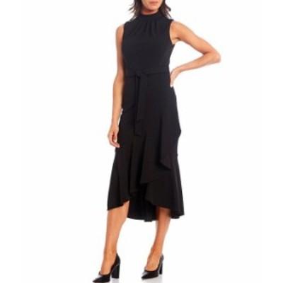 カルバンクライン レディース ワンピース トップス Sleeveless Mock Neck Draped Ruffle Hem Dress Black