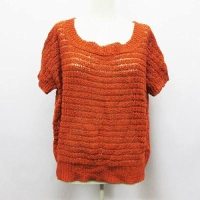 【中古】ビームスライツ BEAMS Lights ニット 半袖 透かし編み 麻 リネン混 38 橙 オレンジ系 ●17 レディース