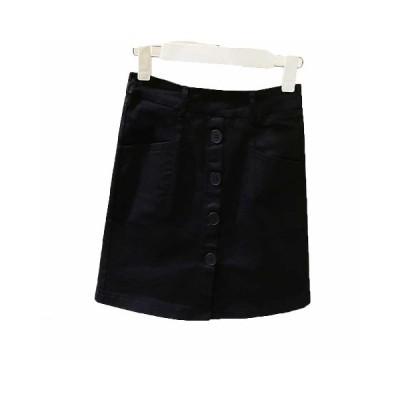 女の子 大人 ショートスカート デニム aライン ゴムウエスト ポケット付き 着痩せ フロントスリット 無地 カジュアル シンプル 素朴 ミニマリズム