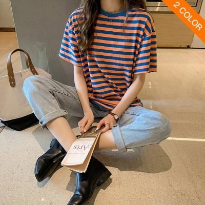 送料無料半袖レディース 新登場 縞模様 Tシャツ 女性緩めLAZYスタイル 上着 シャツ プライマー