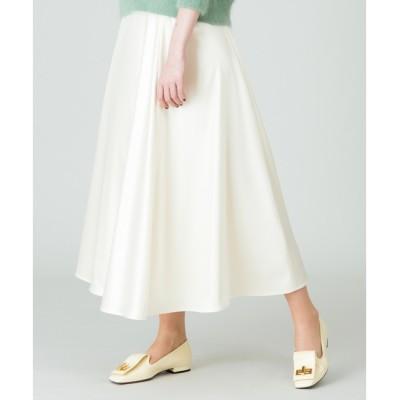 【アルアバイル/allureville】 レザーライクサテンフレアースカート