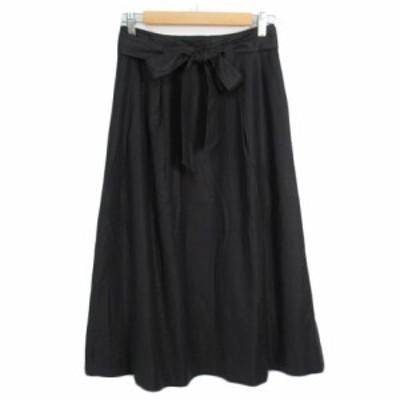 【中古】ランズエンド LANDS' END スカート フレア ロング ベルト リボン 64 黒 ブラック レディース