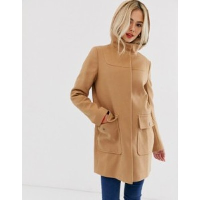 エイソス レディース コート アウター ASOS DESIGN hooded slim coat Camel