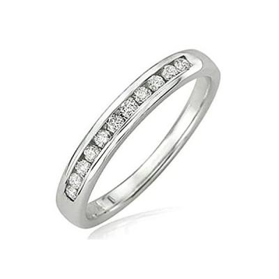 0.20カラット(CTW14Kホワイトゴールドラウンドダイヤモンド結婚記念バンドスタッカブルリング1/ 5ct