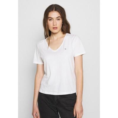 トミーヒルフィガー Tシャツ レディース トップス SLIM VNECK - Basic T-shirt - white