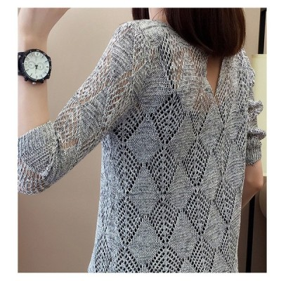 サマーニット レディース 七分袖 透かし編みニット トップス おしゃれ かわいい透かし編み シンプル おしゃれ 軽やかな着心地 通気性抜群 肌魅せ