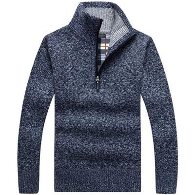 MIMIPO ニット セーター ハーフジップ カーディガン メンズ 長袖 厚手 無地 裏起毛 ゆったり 防寒 大きいサイズ 秋 冬 M-3XL (Bl