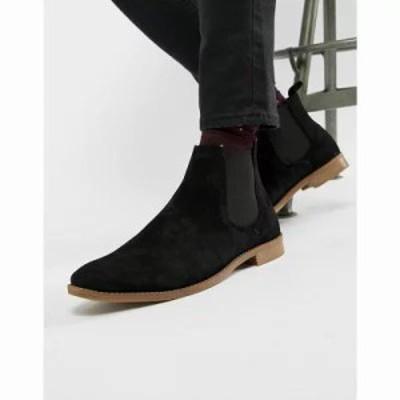 エイソス ブーツ chelsea boots in black suede with natural sole Black