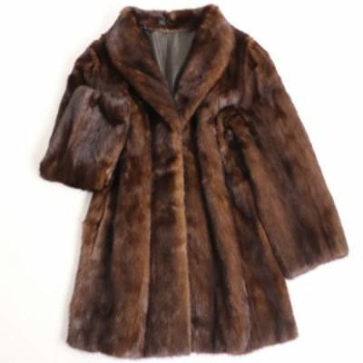 美品▼MINK ミンク 本毛皮コート ブラウン 大きめサイズ15号 毛質艶やか・柔らか◎