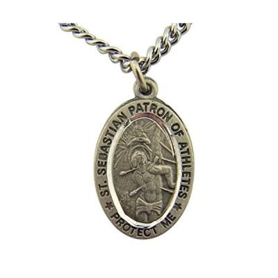 Religious Gifts Pewter Patron of Athletes Saint Sebastian Medal with B