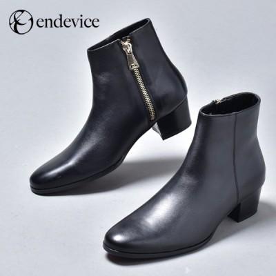 ブーツ メンズ 本革 ファスナー ショートブーツ 黒 ヒールブーツ レザー 革靴 皮靴 プレーントゥ 大人 かっこいい おしゃれ 舞台 衣装 国産 日本製 ブラック
