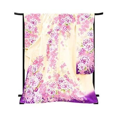 [京都の着物屋かさね] 振袖 仕立て上がり 着物 白 藤色 牡丹 蝶 正絹 フォーマル 礼装 絹 仕立て済み f-296