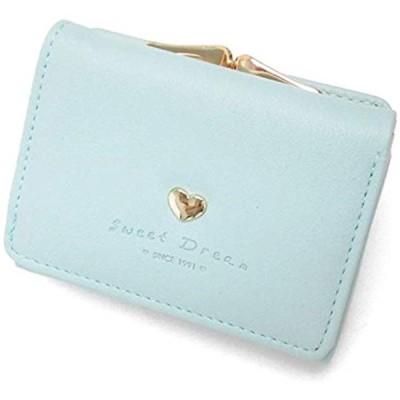 財布 レディース がま口 コンパクト 小さい 三つ折り 小銭入れ ハート 薄(ブルー)