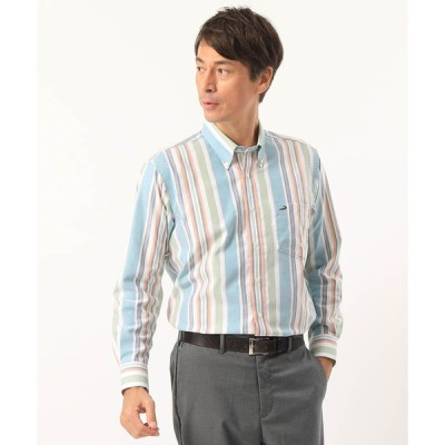 ヤマトインターナショナル メンズ クロコダイル ストライプシャツ グリーン M