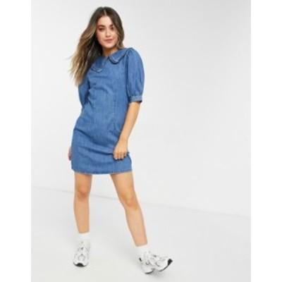 ニュールック レディース ワンピース トップス New Look collar shirt dress in mid blue Mid blue