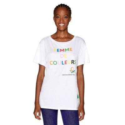 (BENETTON (women)/ベネトン レディース)マルチカラーロゴサイドスリットポイントTシャツ・カットソー/レディース ホワイト系その他