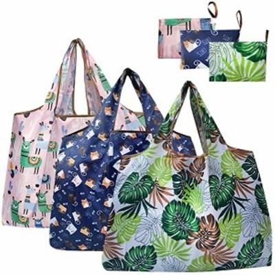 エコバッグ折りたたみ買い物袋大容量防水素材3個セットポケット付きサイズおしゃれショッピング収納 洗濯可