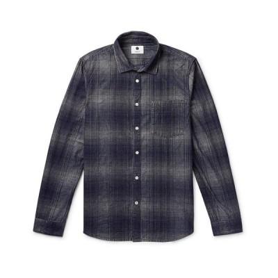 NN07 チェック柄シャツ  メンズファッション  トップス  シャツ、カジュアルシャツ  長袖 ダークブルー