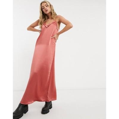 ヴィラ レディース ワンピース トップス Vila a-line strappy maxi dress in pink