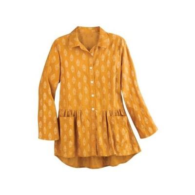 レディース 衣類 トップス April Cornell Women's Golden Sun Flounce Tunic - Button Front Collared Blouse ブラウス&シャツ