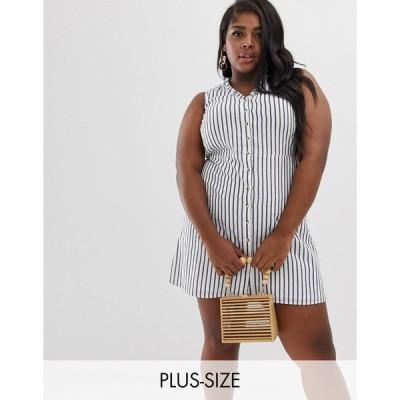 ヴェロモーダ ドレス 大きいサイズ レディース Vero Moda Curve stripe button front dress エイソス ASOS