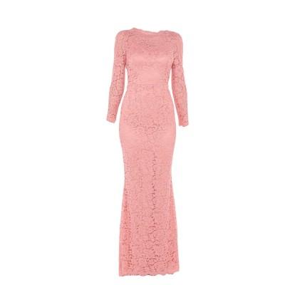 ドルチェ & ガッバーナ DOLCE & GABBANA ロングワンピース&ドレス サーモンピンク 38 レーヨン 39% / ナイロン 34% /