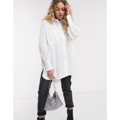 トップショップ レディース シャツ トップス Topshop poplin shirt in white White