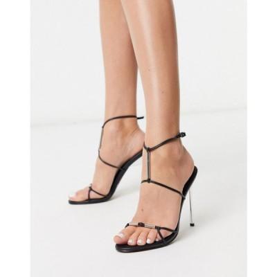 エイソス ASOS DESIGN レディース サンダル・ミュール シューズ・靴 Now metal trim t-bar heeled sandals in black ブラック