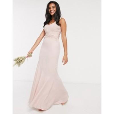 エイソス レディース ワンピース トップス ASOS DESIGN Bridesmaid pleated bodice maxi dress Blush