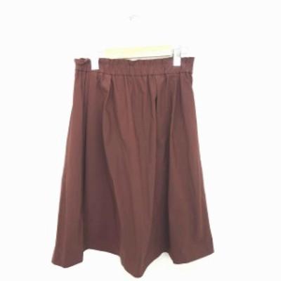 【中古】グリーンレーベルリラクシング ユナイテッドアローズ スカート ギャザー フレア 膝下丈 薄手 36 茶 ブラウン