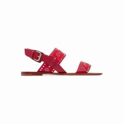 ヴァレンティノ サンダル・ミュール Microstud leather and suede slingback sandals Crimson