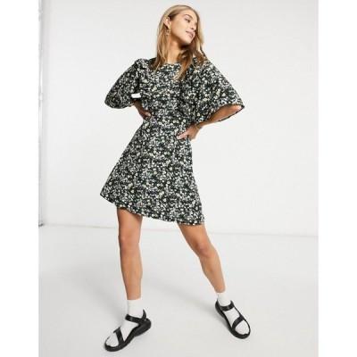 ファッションユニオン Fashion Union レディース ワンピース ミニ丈 ワンピース・ドレス Mini Dress With Ruffle Sleeve In Ditsy Floral ブラック