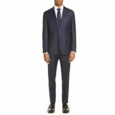 アルマーニ EMPORIO ARMANI メンズ スーツ・ジャケット アウター G Line Trim Fit Check Wool Suit Navy
