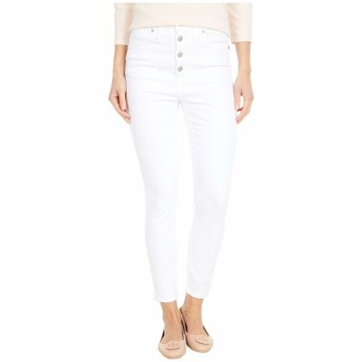 "メイドウェル デニムパンツ ボトムス レディース 10"" High-Rise Skinny Crop Jeans in Pure White: Button-Front Edition Pure White"