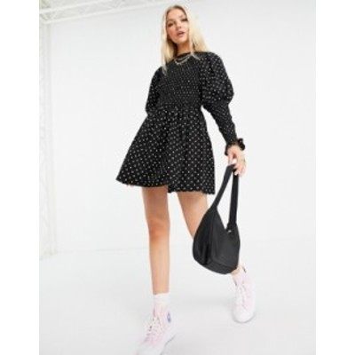 エイソス レディース ワンピース トップス ASOS DESIGN shirred mini skate dress with shirred cuffs in mono dot print Mono spot