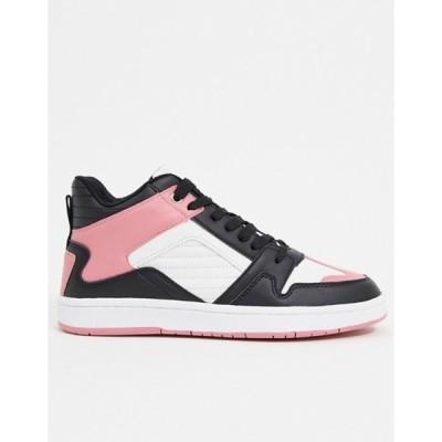 エイソス レディース スニーカー シューズ ASOS DESIGN Dante high top lace up sneakers in black & pink