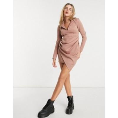 エイソス レディース ワンピース トップス ASOS DESIGN long sleeve ruched shirt drape mini dress in mink Mink