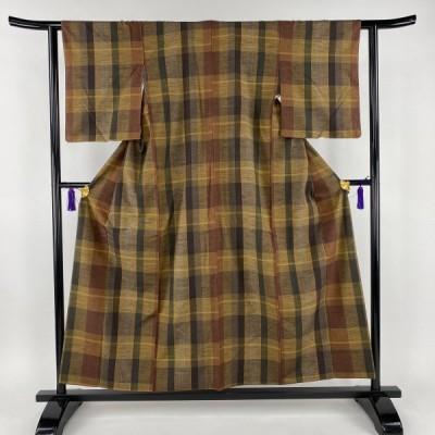 紬 美品 秀品 縞模様 茶緑色 袷 身丈155cm 裄丈60.5cm S 正絹 中古 PK60