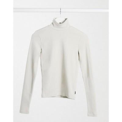 ドクターデニム レディース シャツ トップス Dr Denim Awa long sleeve high neck t-shirt in cream