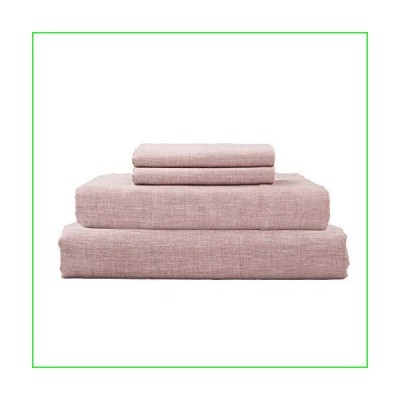 DAPU Pure Linen Sheets Set with Stone Washed 100% French Natural Linen European Flax (Queen, Smokey Pink, Flat, Fitted and 2 Pillowcases)