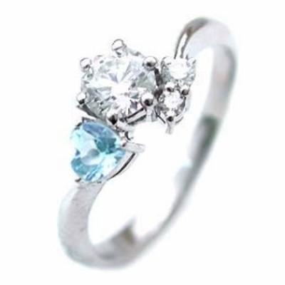 婚約指輪 エンゲージリング 11月誕生石 ブルートパーズ プラチナ ダイヤモンドリング ハートシェイプ