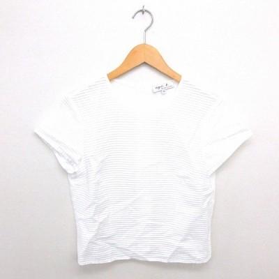 【中古】アニエスベー agnes b. カットソー  丸首 背中ボタン 透け感 綿 コットン 半袖 40 白 ホワイト /TT16 レディース 【ベクトル 古着】