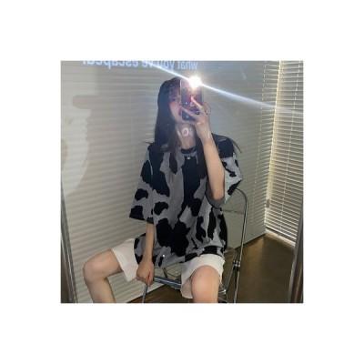 【送料無料】ルース 半袖 シャツ 女 夏 年 韓国風 個性 西洋風 水 インク 丸襟 | 364331_A63275-3662138