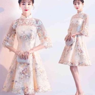 パーティードレス 結婚式ドレス 袖あり ウエディングドレス ワンピース 花柄 レース 大人 上品 着痩せ お呼ばれ 花嫁 二次会