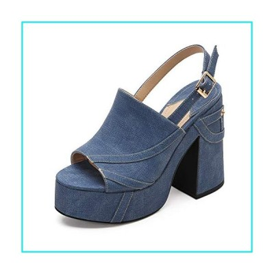 MACKIN J 618-2 Women's Platform Chunky Heel Open Toe Ankle Strap Dress Wedge Sandals (8, Denim)【並行輸入品】