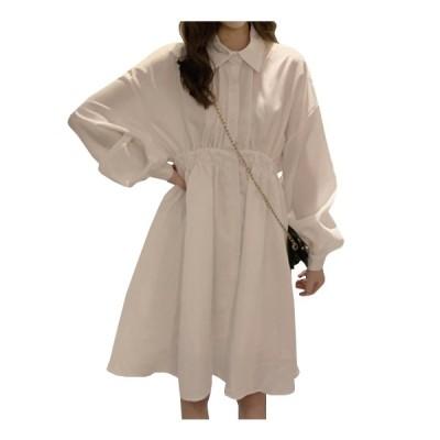 ワンピース ドレス レディース 韓国風シャツワンピ OL 花柄 着痩せ 無地 ロング丈 Aラン ゆったり 体型カバー 半袖